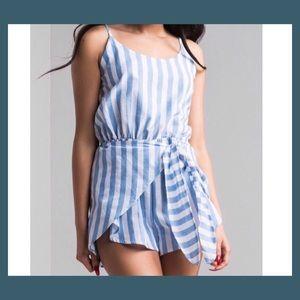 Blue & White Striped Romper
